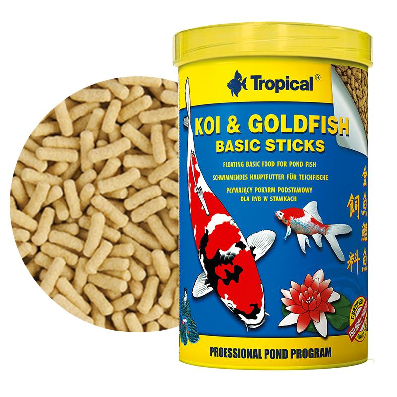 Tropical koi gold fish basic sticks 1000ml 85gr stick for Laghetto per pesci
